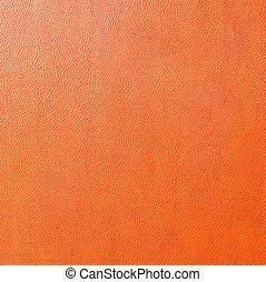 laranja, couro, fundos, textura