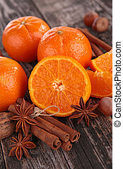 laranja, e, temperos