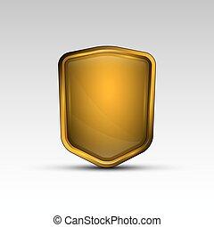 laranja, emblema, escudo, vazio