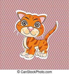 laranja, engraçado, caricatura, gato