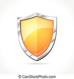 laranja, escudo, ícone
