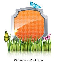 laranja, escudo, com, voando, borboletas, por, a, grass.