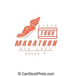 laranja, executando, desenho, maratona, etiqueta