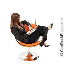 laranja, executiva, laptop, cadeira, elegante