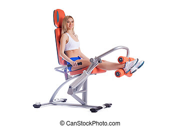 laranja, exerciser, mulher, loiro, jovem
