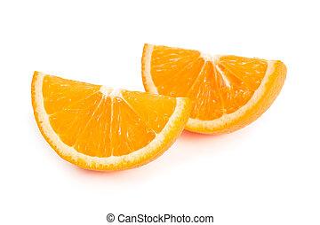 laranja, fatias, dois