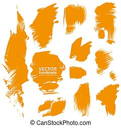 laranja, feito à mão, escova, textura