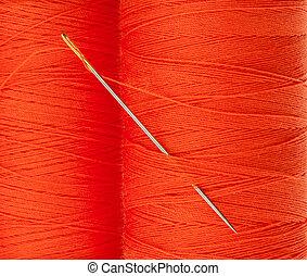 laranja, fio, com, agulha