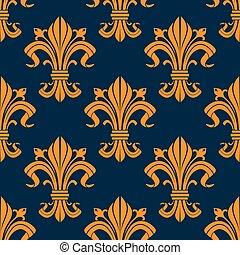 laranja, floral, fleur-de-lis, seamless, padrão