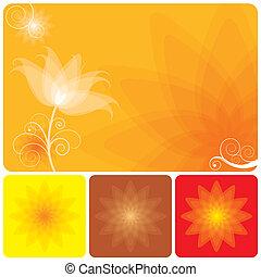 laranja, floral, fundo