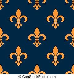 laranja, floral, seamless, fleur-de-lis, padrão