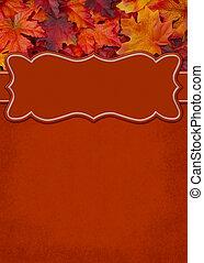 laranja, folha, borda, com, espaço cópia