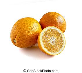 laranja fresca, corte pela metade