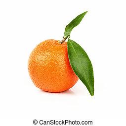 laranja fresca, fruta, com, folha verde