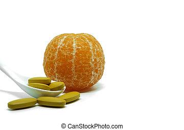 laranja, fresco, c, fruta, vitamina