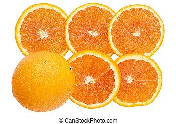 laranja, fresco, fundo, fatias