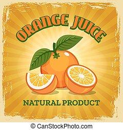 laranja, fresco, vindima, cartaz