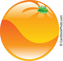 laranja, fruta, ícone, clipart