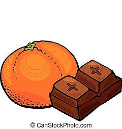 laranja, fruta, bloco, chocolate