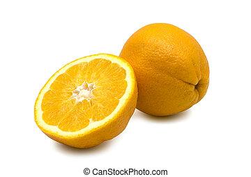 laranja, fruta, branco, fundo