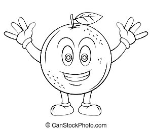 laranja, fruta, caricatura