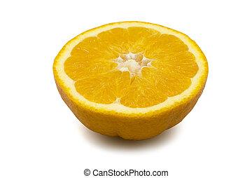laranja, fruta, corte pela metade