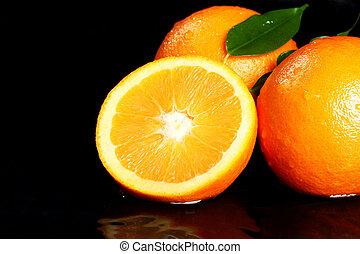 laranja, fruta fresca, cima fim