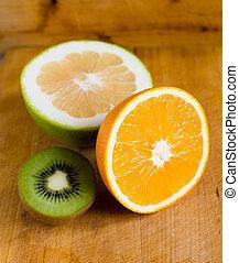 laranja, fruta, kiwi, e, toranja