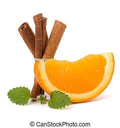 laranja, fruta, segmento, varas canela, e, hortelã, isolado, branco, experiência., bebidas quentes, ingredients.