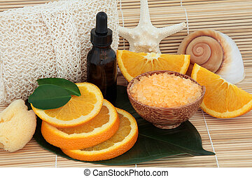 laranja, fruta, spa