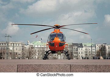laranja, helicóptero, salvamento