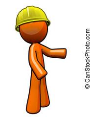 laranja, homem, contratante, com, difícil, hat.