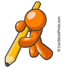 laranja, homem, desenho, com, lápis