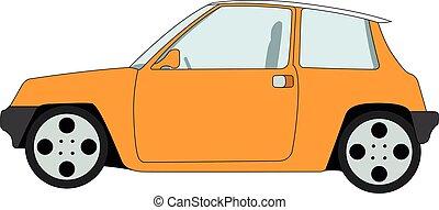 laranja, ilustração, hatchback, vetorial, isolado
