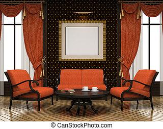 laranja, interior, cor, modernos, parte