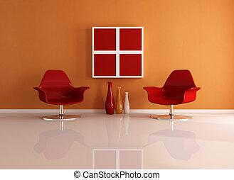 laranja, interior, vermelho