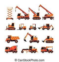 laranja, jogo construção, objetos, veículos