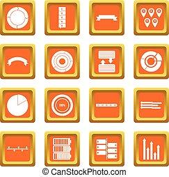 laranja, jogo, vário, pessoas, ícones