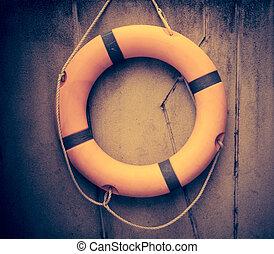 laranja, lifebuoy, salvamento água, emergência, equipment.