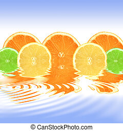laranja limão lima, abstratos