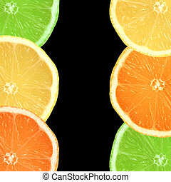 laranja, limão, lima, fatias