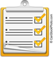 laranja, lista conferição, ícone