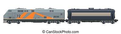 laranja, locomotiva, com, carro tanque, isolado