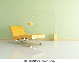 laranja, longue chaise