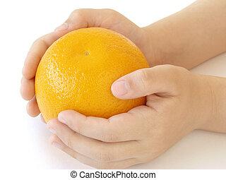 laranja, mãos