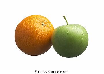 laranja, maçã