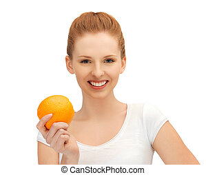 laranja, menina adolescente