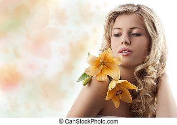 laranja, menina, flor, loura, cacheados