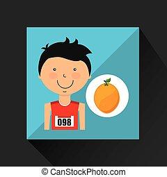 laranja, menino, atleta, caricatura
