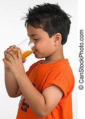 laranja, menino, suco bebida